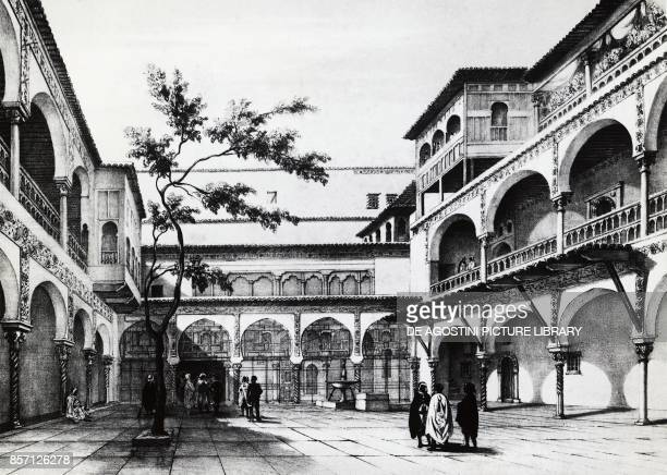 Courtyard of the Kasbah fortress in Algiers engraving Algeria 19th century