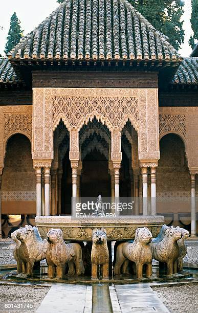 Courtyard of the Lions with the fountain Alhambra Granada Andalusia Spain 13th15th century
