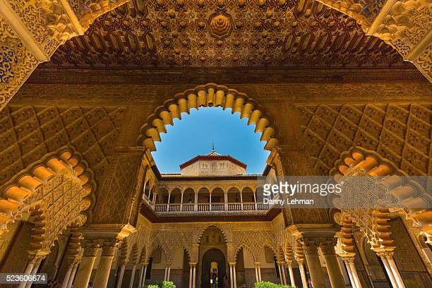 courtyard of the maidens, alcazar of seville - seville stock pictures, royalty-free photos & images