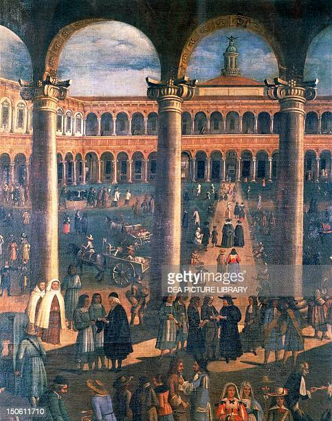 Courtyard of the Ospedale Maggiore or Ca' Granda Milan by an unknown Milanese artist oil on canvas 194x344 cm Detail Italy 17th century