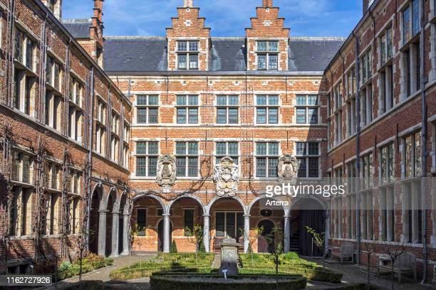 Courtyard of the Plantin-Moretus Museum / Plantin-Moretusmuseum about 16th century printers, Antwerp, Flanders, Belgium.