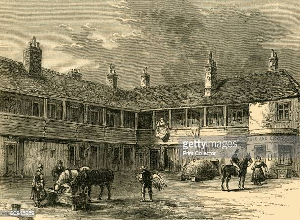 """Court-Yard of the """"Rose and Crown"""", 1820', . Formerly known as the 'Oliver Cromwell,' the oldest house and largest inn in Knightsbridge with..."""
