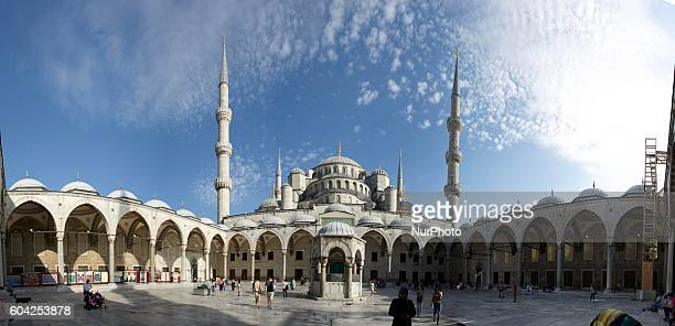 Courtyard of the The Blue Mosque as it is popularly known was constructed between 1609 and 1616 during the rule of Ahmed I in Istanbul Turkey on 13...