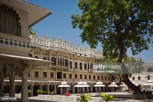 Courtyard Used For Parties In The City Palace Of Udaipur Rajasthan India Started By Maharaja Udai Singh Ll In 1600 Ad