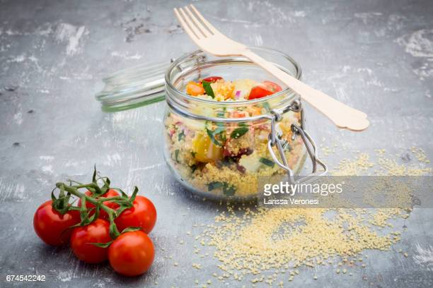 couscous salad in a jar - jars with salad stock pictures, royalty-free photos & images