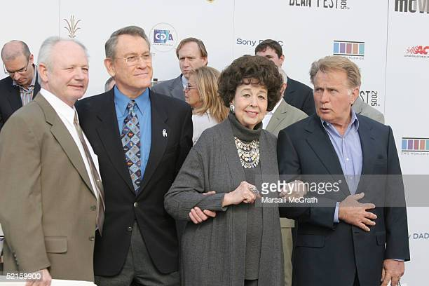 Cousin to Dean Marcus Winslow Jr Actor Earl Hollimen Actress Jane Withers and Actor Martin Sheen attend the press conference for James Dean's 50th...