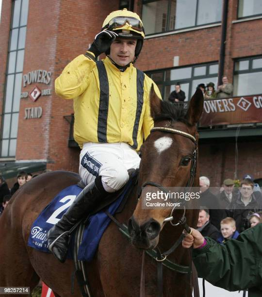 Cousin Vinny ridden by jockey, Ruby Walsh is led in after winning the Keelings Irish Strawberry Hurdle Chase at the 2010 Irish Grand National meeting...