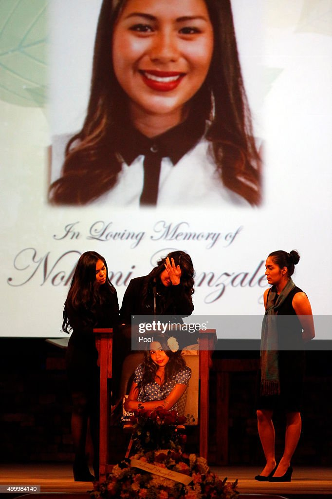 Cousins of Paris attack victim Nohemi Gonzalez share their memories of her at a funeral service at the Calvary Chapel December 4, 2015 in Downey, California. Gonzalez was the 23 year-old Cal State Long Beach student who was killed while dining with friends at a bistro in Paris last month. Gonzalez, from El Monte, was a senior majoring in industrial design and one of 17 CSULB students attending Strate School of Design in Paris as part of a study abroad program. She was one of 129 people killed in the coordinated attacks.