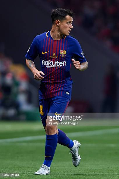 Coutinho of Barcelona looks on during the Spanish Copa del Rey Final match between Barcelona and Sevilla at Wanda Metropolitano on April 21 2018 in...