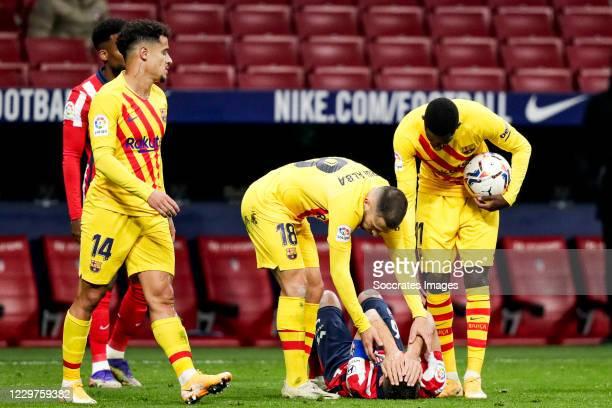 Coutinho of FC Barcelona Jordi Alba of FC Barcelona Koke of Atletico Madrid Ousmane Dembele of FC Barcelona during the La Liga Santander match...