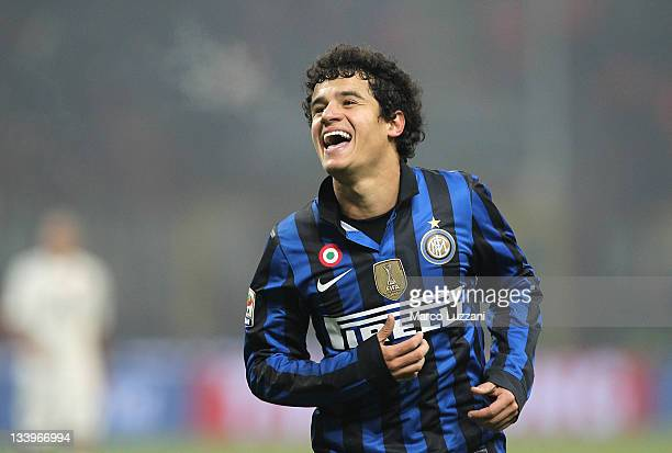 Coutinho of FC Internazionale Milano celebrates his goal during the Serie A match between FC Internazionale Milano and Cagliari Calcio at Stadio...