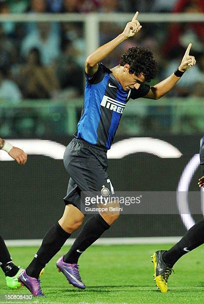 Coutinho of Inter celebrates after scoring the goal 03 during the Serie A match between Pescara Calcio and FC Internazionale Milano at Adriatico...