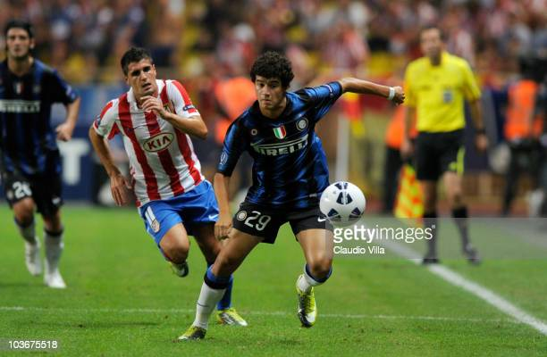Coutinho of Inter Milan in action during the UEFA Super Cup between Inter and Atletico Madrid at Louis II Stadium on August 27 2010 in Monaco Monaco