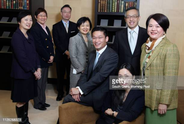 Coutts Giving Committees Sabrina Tse Ann Fok Andrew Lo Angela Shum Andrew Sum Jackie Pang Ignatius Chong and Fan Choi poses for picture at their...