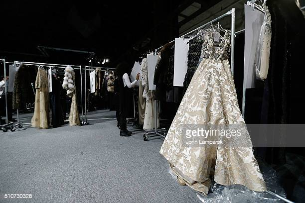 Couture is ddisplayde backstage during the Dennis Basso Fall 2016 show New York Fashion Week The Shows at The Arc Skylight at Moynihan Station on...