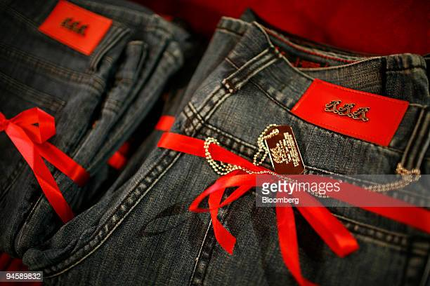 Couture jeans by designer Michelle Marie Nichols sit on display among many free items being handed out as swag to celebrities at the RevaleSkin...