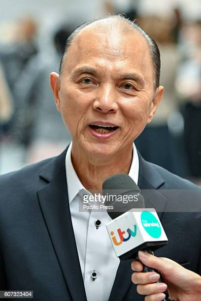 Couture shoe designer Jimmy Choo speaks to the media during the Jasper Conran Spring/Summer 17 Collection runway show during London Fashion Week....