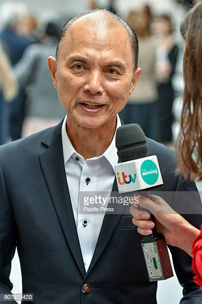 Couture shoe designer Jimmy Choo speaks to the media during the Jasper Conran Spring/Summer 17 Collection runway show during London Fashion Week...