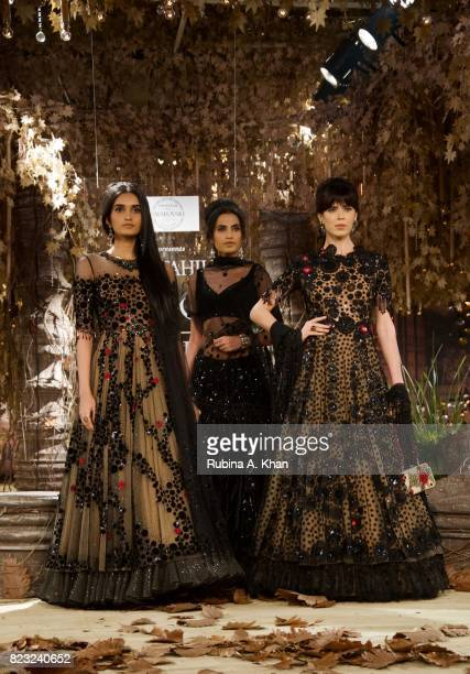 Couturier Tarun Tahiliani exhibits his bridal couture collection 201718 'Tarakanna' during FDCI's India Couture Week 2017 at the Taj Palace hotel on...