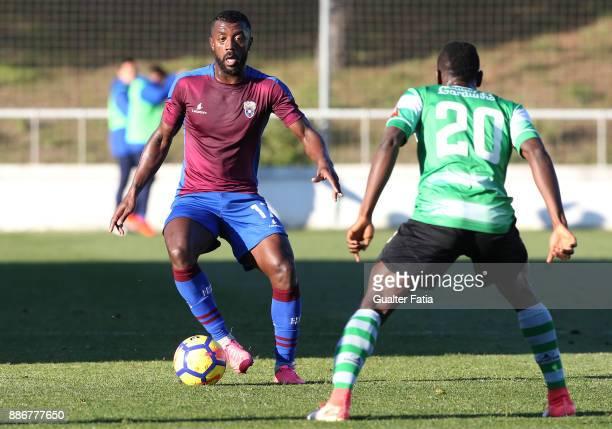 Cova da Piedade defender Adilson from Portugal in action during the Segunda Liga match between CD Cova da Piedade and SC Covilha at Estadio Municipal...