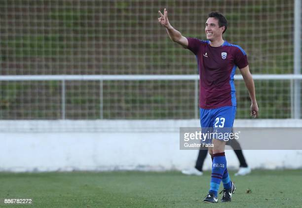 Cova da Piedade forward Cleo from Brazil celebrates after scoring a goal during the Segunda Liga match between CD Cova da Piedade and SC Covilha at...