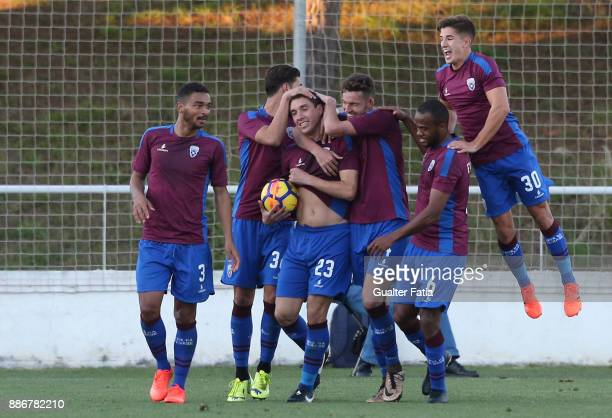 Cova da Piedade forward Cleo from Brazil celebrates with teammates after scoring a goal during the Segunda Liga match between CD Cova da Piedade and...
