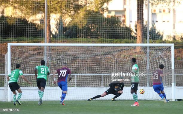 Cova da Piedade forward Cleo from Brazil scores a goal from the penalty spot during the Segunda Liga match between CD Cova da Piedade and SC Covilha...