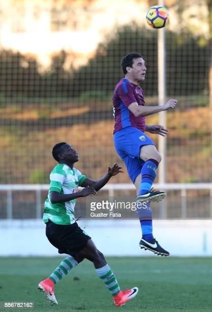 Cova da Piedade forward Cleo from Brazil with SC Covilha forward Sodiq Fatai from Nigeria in action during the Segunda Liga match between CD Cova da...