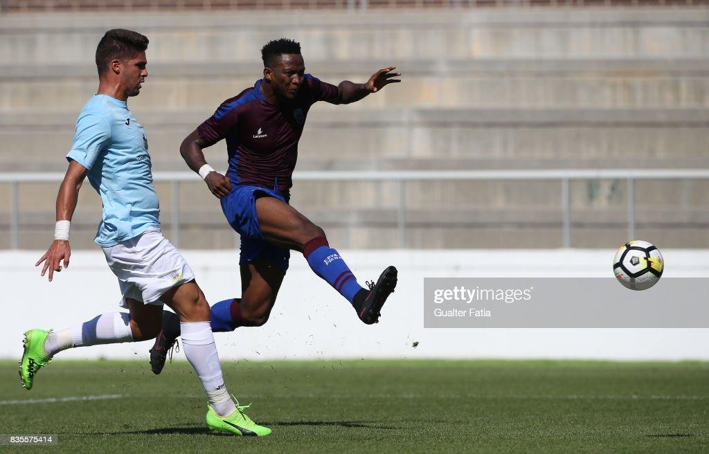 CD Cova da Piedade forward Ifeanyi Onyilo from Nigeria scores goal during the Segunda Liga match between CD Cova da Piedade and FC Arouca at Estadio Municipal Jose Martins Vieira on August 19, 2017 in Almada, Portugal.