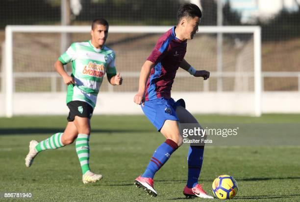 Cova da Piedade forward Yuhao Liu from China in action during the Segunda Liga match between CD Cova da Piedade and SC Covilha at Estadio Municipal...