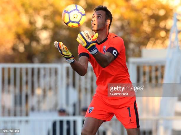 Cova da Piedade goalkeeper Pedro Alves from Portugal in action during the Segunda Liga match between CD Cova da Piedade and SC Covilha at Estadio...