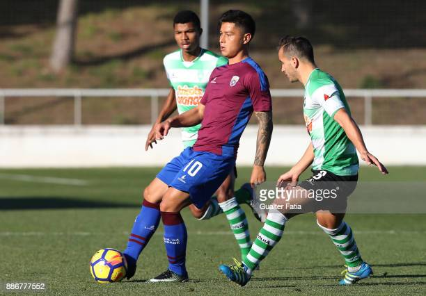 Cova da Piedade midfielder Robson from Brazil in action during the Segunda Liga match between CD Cova da Piedade and SC Covilha at Estadio Municipal...