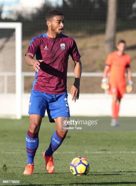 Cova da Piedade midfielder Soares from Brazil in action during the Segunda Liga match between CD Cova da Piedade and SC Covilha at Estadio Municipal...