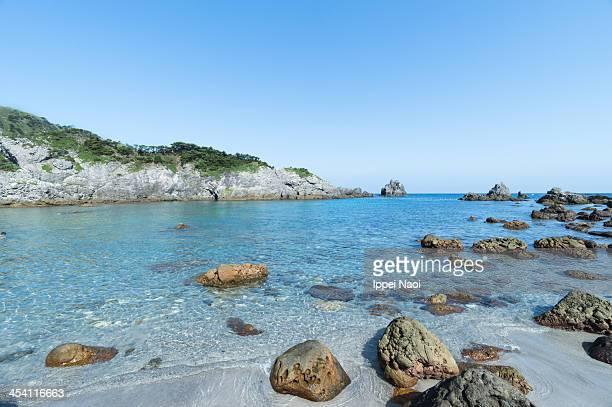 Cove beach with clear water, Shikine-jima