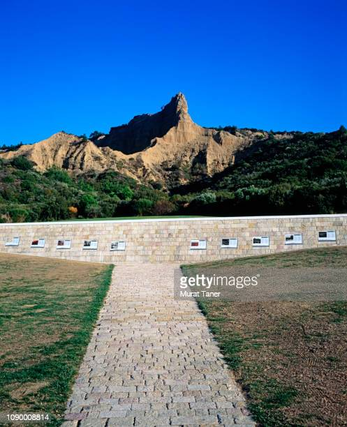anzac cove commemorative site in gallipoli - memorial plaque stock pictures, royalty-free photos & images