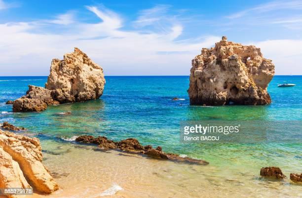 cove praia arrifes region of algarve, portugal - albufeira stock photos and pictures