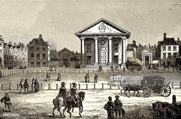 Covent Garden London in 1650 Street scene showing riders carriages horse and cart and various passersby