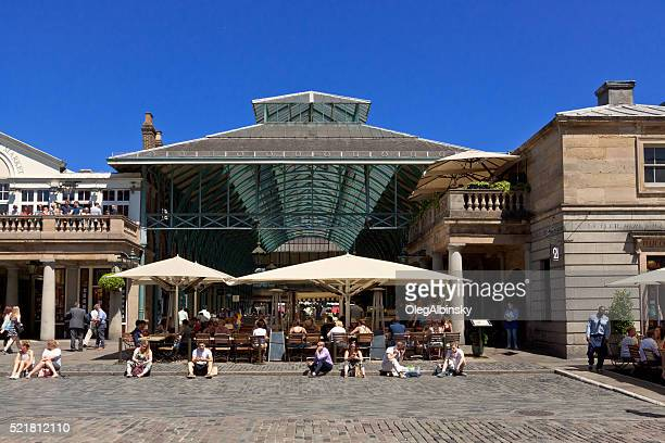 Covent Garden market and Vivid Blue Sky, London, England, UK.