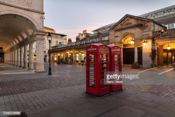 Covent Garden Market normally crowded with tourists and shoppers was deserted at 600pm Saturday night during the Coronavirus pandemic on 4th April...