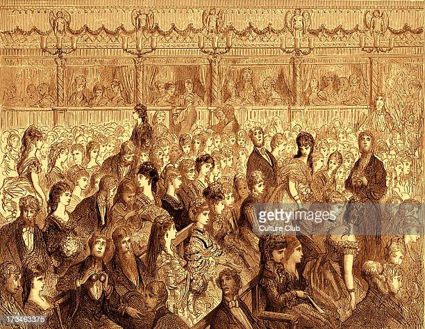 Covent Garden opera house stalls in London with audience. Early 1870's. Engraving by Gustave Doré, from 'London, a Pilgrimage, by Gustave Doré and...