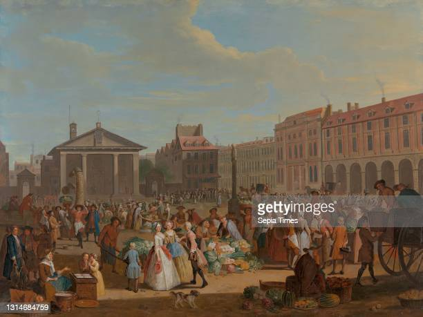 Covent Garden, Pieter Angillis, 1685–1734, Flemish, active in Britain , ca. 1726, Oil on copper, Support : 18 13/16 x 24 13/16 inches , baskets,...