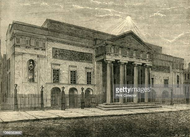 Front in 1850' The facade of the Theatre Royal in Covent Garden London The second theatre opened in 1809 after the previous building burned down From...
