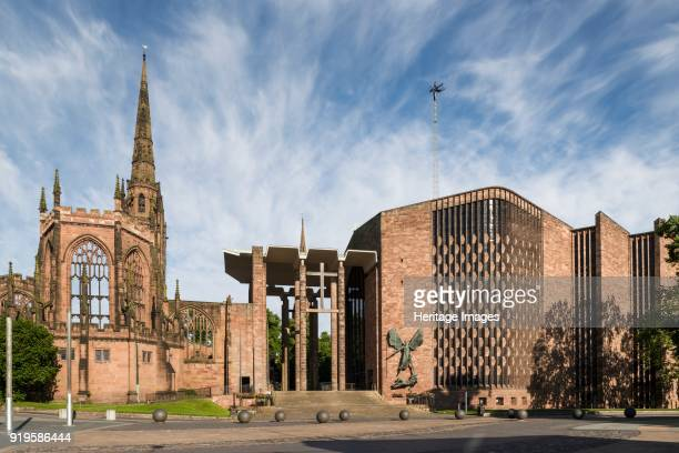 Coventry Cathedral West Midlands 2014 Both the remains of the old and Basil Spence's new cathedral seen from University Square General view from the...