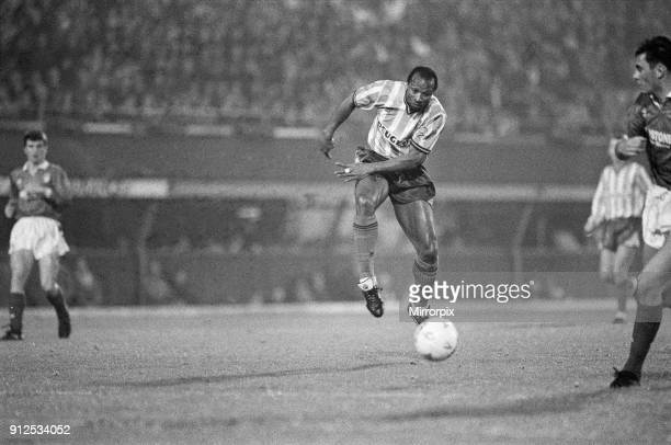 Coventry City 5 v Nottingham Forest 4 Fourth Round of the Rumbelows Cup at Highfield Road Coventry City's Cyrille Regis has a strike on goal 28th...