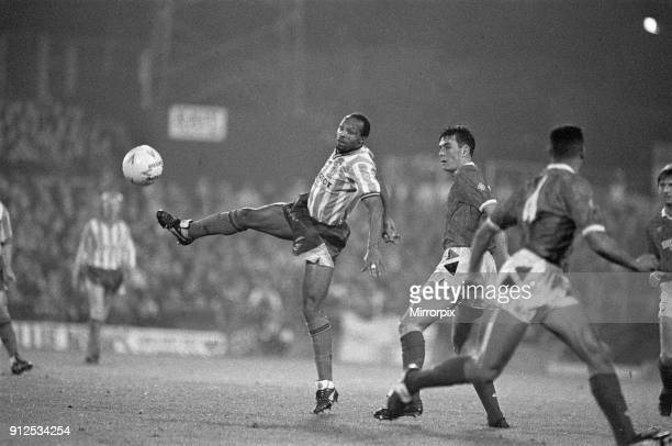 Coventry City 5 v Nottingham Forest 4 Fourth round of the Rumbelows Cup at Highfield Road Cyrille Regis bring down the ball 28th November 1990