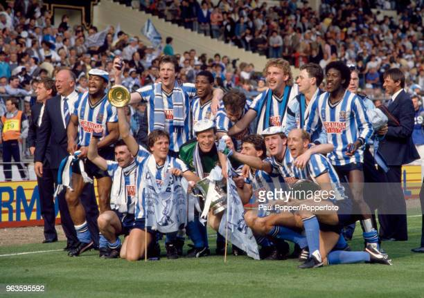 Coventry City celebrate with the trophy after the FA Cup Final between Coventry City and Tottenham Hotspur at Wembley Stadium on May 16 1987 in...