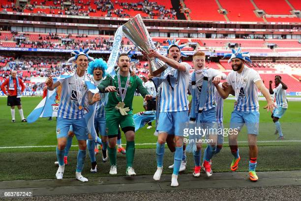 Coventry City celebrate with the trophy after winning the EFL Checkatrade Trophy Final between Coventry City v Oxford United at Wembley Stadium on...