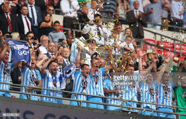 Coventry City celebrate with trophy after the Sky Bet League Two Play Off Final between Coventry City and Exeter City at Wembley Stadium on May 28...