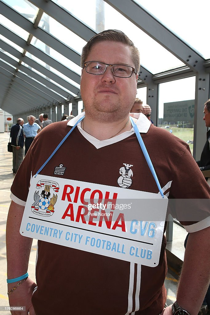 A Coventry City fan protests prior to the Sky Bet League One match between Coventry City and Bristol City at Sixfields Stadium on August 11, 2013 in Northampton, England.