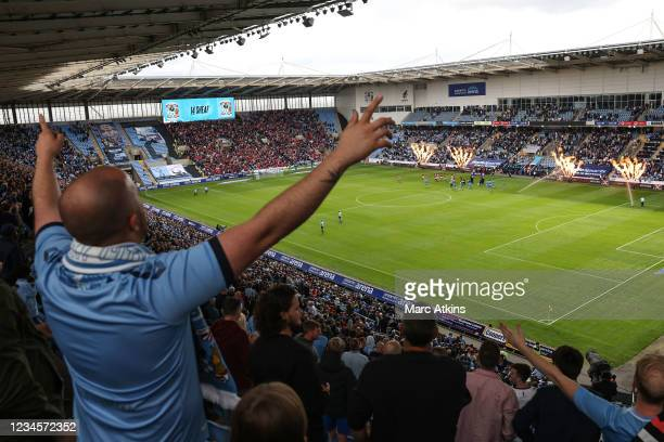 Coventry City fan reacts as the teams come out during the Sky Bet Championship match between Coventry City and Nottingham Forest at Ricoh Arena on...